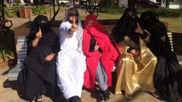 Some of the Party for Freedom members who entered the Gosford Anglican Church dressed as Muslims. Photo: Party for Freedom/Facebook