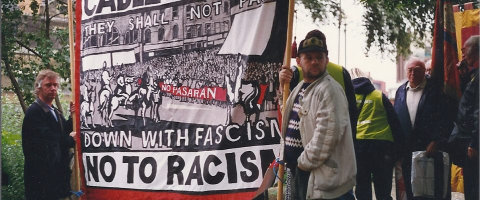 Anti-fascists lead the march in 1996