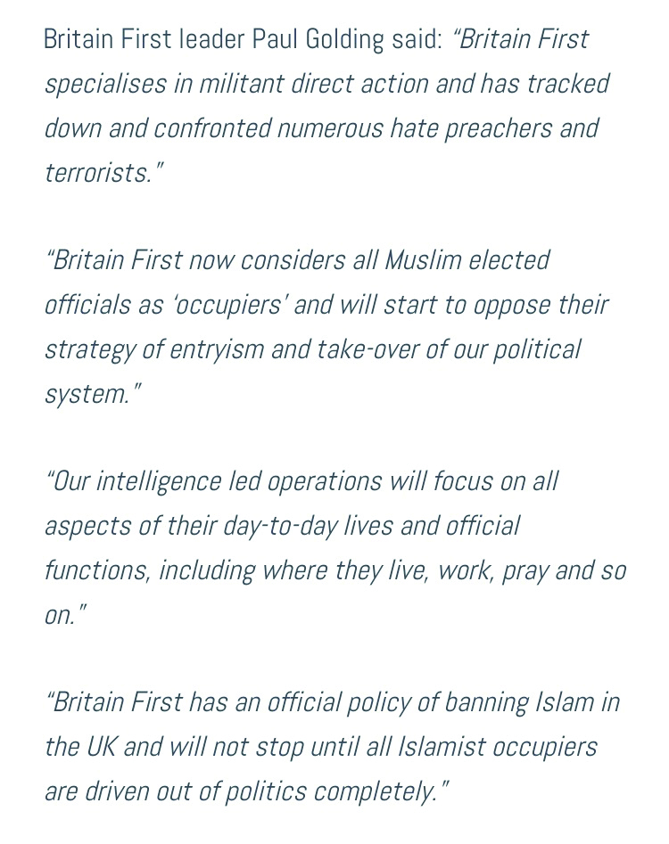 Britain First's threat to Muslim elected representatives