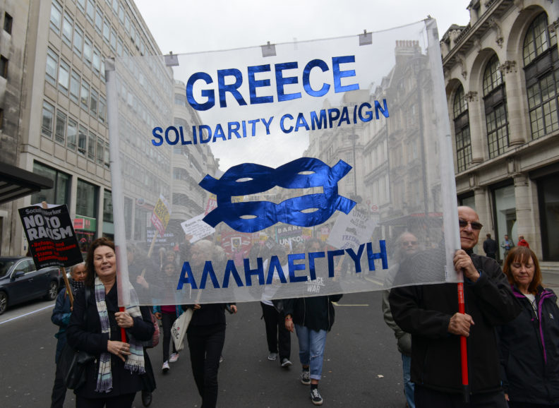 Greek Solidarity Campaign supporters on the international section of the Stand Up To Racism march in London on 18 March 2017