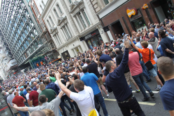 "Marchers chant ""England, England"". Pic credit: Tash Shifrin"
