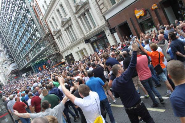"Marchers chant ""England, England"". Pic credit: Tash Shifrin"