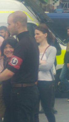 """One demonstrator at the """"UK Against Hate"""" demo wore the insignia of Oswald Mosley's pre-war British Union of Fascists. Pic credit: Eugenia Grieff via twitter"""